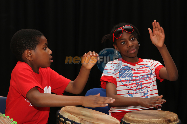 Drumming at the Summer camp in the Barbican Theatre...(Photo credit should read Jenny Matthews/NEWSFILE)...