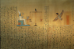Papyrus from the tomb of Maiherpri; Valley of the Kings; Ba leaving tomb; weighing of the heart by Osiris, Tutankhamun and the Golden Age of the Pharaohs, Page 120