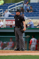 Umpire Jesse Busch during a NY-Penn League game between the Williamsport Crosscutters and Batavia Muckdogs on August 27, 2019 at Dwyer Stadium in Batavia, New York.  Williamsport defeated Batavia 11-4.  (Mike Janes/Four Seam Images)