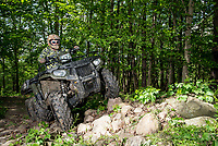 2017 ATV gear guide for Outdoor Life Magazine with Editor Tony Hansen, Gabe VanWormer, and Tyler Freel in Vermontville, Michigan, May 17-18, 2017. Winning machines include the Honda Pioneer 1000, Polaris 6X6, and the John Deer Gator.<br /> <br /> Photo by Matt Nager
