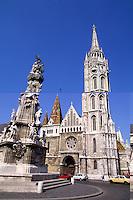 Budapest Hungary historical Mattlias Coronation Church on hill.