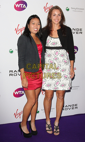 Vania King & Yaroslava Shvedova .WTA Pre-Wimbledon Party held at Kensington Roof Gardens, London, England, UK, June 16th 2011..full length dress red pink grey gray jacket white patterned  floral sandals shoes .CAP/ROS.©Steve Ross/Capital Pictures