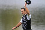 Francesco Molinari waves to the crowd on the 13th green in the Session 2 Foursomes Match 2 during Day 2 of the The 2010 Ryder Cup at the Celtic Manor, Newport, Wales, 2nd October 2010..(Picture Eoin Clarke/www.golffile.ie)