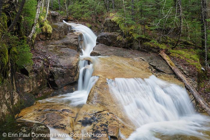 Shell Cascade in Waterville Valley, New Hampshire during the spring months. This cascade is located on Hardy Brook.