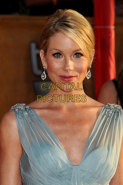 CHRISTINA APPLEGATE .16th Annual Screen Actors Guild Awards - Arrivals held at The Shrine Auditorium,  Los Angeles, California, USA, .23rd January 2010..SAG SAGs portrait headshot  green sleeveless silk beaded shoulders earrings hair up dangly  silver .CAP/ADM/BP.©Byron Purvis/Admedia/Capital Pictures