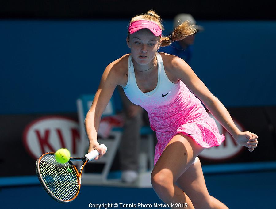 KATIE SWAN (GBR)<br /> <br /> Tennis - Australian Open 2015 - Grand Slam -  Melbourne Park - Melbourne - Victoria - Australia  - 31 January 2015. <br /> &copy; AMN IMAGES