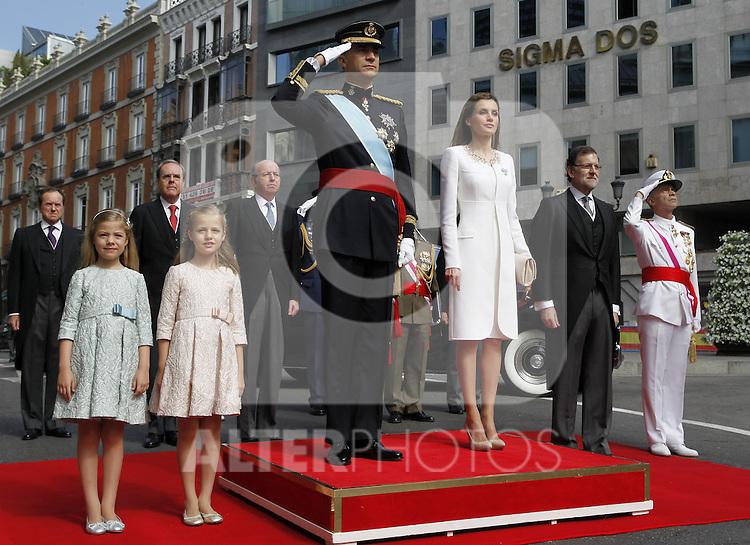 Coronation ceremony in Madrid. King Felipe VI of Spain and Queen Letizia of Spain at Congreso de los Diputados with their children Princess Leonor and enfant Sofía. Madrid, June 19 ,2014. (ALTERPHOTOS/EFE/Pool)