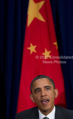 United States President Barack Obama makes remarks prior to a meeting with President Hu Jintao of China (not pictured) during the Asia-Pacific Economic Cooperation (APEC) at the Hale Koa Hotel  in Honolulu, Hawaii on Saturday, November 12, 2011..Credit: Kent Nishimura / Pool via CNP