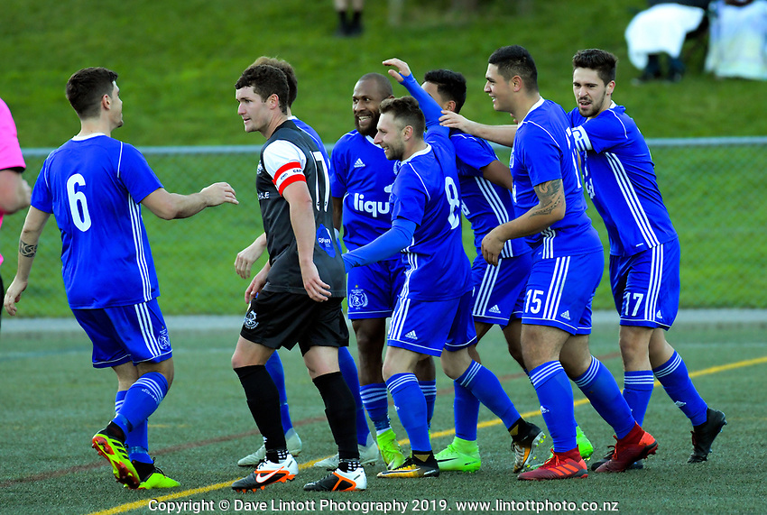 Action from the Central League football match between Wellington Olympic and Napier City Rovers at Newtown Park in Wellington, New Zealand on Saturday, 25 May 2019. Photo: Dave Lintott / lintottphoto.co.nz