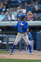 Roberto Caro (18) of the South Bend Cubs at bat against the West Michigan Whitecaps at Fifth Third Ballpark on June 10, 2018 in Comstock Park, Michigan. The Cubs defeated the Whitecaps 5-4.  (Brian Westerholt/Four Seam Images)