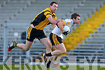 Shane Doolan Dr Crokes is challenged by Dan O'Shea Currow during the O'Donoghue Cup semi final clash in Fitzgerald Stadium on Saturday