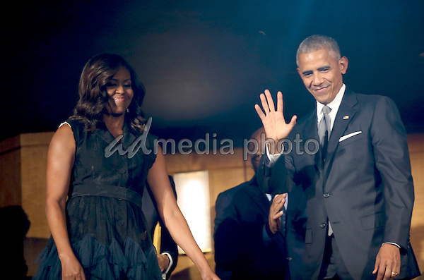 "US President Barack Obama and First Lady Michelle Obama attend a performance at the Kennedy Center called ""Taking the Stage; African American Music and Stories that Changed America,""  an event celebrating the opening of the Smithsonian National Museum of African American History and Culture, September 23, 2016, Washington, DC. Photo Credit: Aude Guerrucci/CNP/AdMedia"