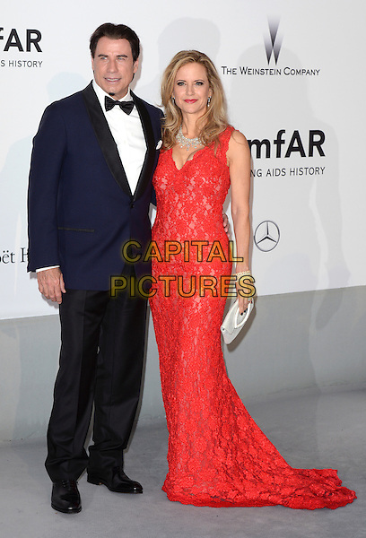 CAP D'ANTIBES, FRANCE - MAY 22: John Travolta &amp; Kelly Preston  attends amfAR's 21st Cinema Against AIDS Gala, Presented By WORLDVIEW, BOLD FILMS, And BVLGARI at the 67th Annual Cannes Film Festival on May 22, 2014 in Cap d'Antibes, France. <br /> CAP/CAS<br /> &copy;Bob Cass/Capital Pictures