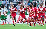 Stockholm 2014-07-28 Fotboll Superettan Hammarby IF - Assyriska FF :  <br /> Assyriskas Jens Jakobsson jublar med lagkamrater efter sitt 1-1 m&aring;l<br /> (Foto: Kenta J&ouml;nsson) Nyckelord:  Superettan Tele2 Arena Hammarby HIF Bajen Assyriska AFF jubel gl&auml;dje lycka glad happy