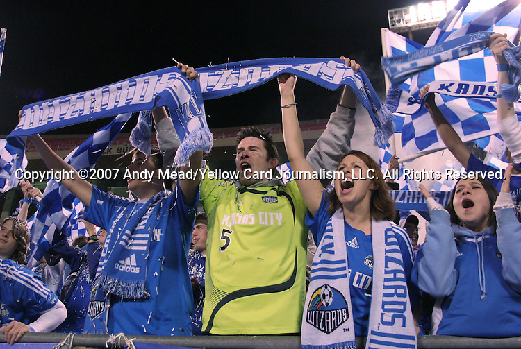 27 October 2007: Kansas City fans celebrate after the win. The Kansas City Wizards defeated Club Deportivo Chivas USA 1-0 in the first leg of their Major League Soccer Western Conference Semifinal playoff series at Arrowhead Stadium in Kansas City, Missouri.