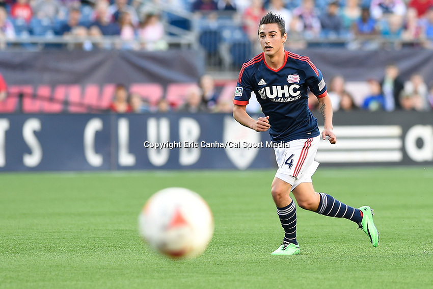 May 11, 2014 - Foxborough, Massachusetts, U.S. - New England Revolution forward Diego Fagundez (14) in game action during the MLS game between the Seattle Sounders FC and the New England Revolution held at Gillette Stadium in Foxborough Massachusetts.  New England defeated Seattle 5-0   Eric Canha/CSM