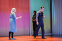 London, UK. 07.10.2015. MEASURE FOR MEASURE, by William Shakespeare, directed by Joe Hill-Gibbins, opens at the Young Vic theatre. Picture shows: Romola Garai (Isabella), Paul Ready (Angelo), Hammed Animashaun (back - Provost). Photograph © Jane Hobson.