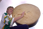 Taking part in  the Nagle Rice School Milltown  day of art, music and pottery on Friday was Shayne Corkery with the world's biggest bodhran<br />Picture: Eamonn Keogh (MacMonagle, Killarney)
