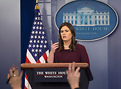 White House Spokesperson Sarah Sanders holds a news briefing, February 27, 2018, at The White House in Washington, DC. Photo by Chris Kleponis/ CNP