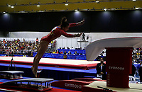 BARRANQUILLA - COLOMBIA, 23-07-2018: Pardo L de Colombia durante su participación en gimnasia mujeres modalidad salto como parte de los Juegos Centroamericanos y del Caribe Barranquilla 2018. /  Pardo L of Colombia during his participation in gymnastics women's jump category as a part of the Central American and Caribbean Sports Games Barranquilla 2018. Photo: VizzorImage / Cont