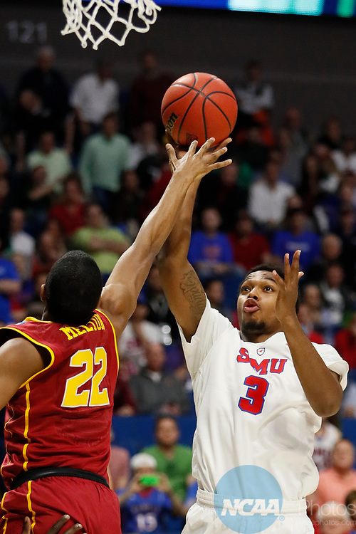 TULSA, OK - MARCH 17:  Sterling Brown (3) of the Southern Methodist Mustangs attempts a shot over De'Anthony Melton (22) of the USC Trojans during the 2017 NCAA Men's Basketball Tournament held at the BOK Center on March 17, 2017 in Tulsa, Oklahoma. (Photo by David Klutho/NCAA Photos via Getty Images)