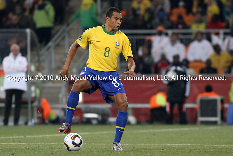 20 JUN 2010: Gilberto Silva (BRA). The Brazil National Team defeated the C'ote d'Ivoire National Team 3-1 at Soccer City Stadium in Johannesburg, South Africa in a 2010 FIFA World Cup Group G match.