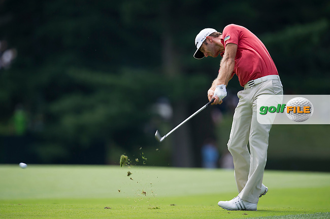 Dustin Johnson fires his approach down the 5th during the opening round of the PGA Championship at Oak Hill Country Club (Photo: Anthony Powter) www.golffile.ie