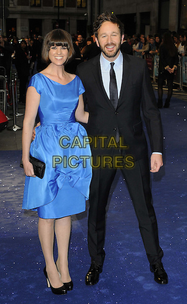 Dawn Porter & Chris O'Dowd    .'The Sapphires' Nintendo gala, the 56th BFI London Film Festival day 6, Odeon West End cinema, Leicester Square, London, England..October 15th, 2012.full length black blue dress shoes clutch bag suit shirt beard facial hair couple  .CAP/CAN.©Can Nguyen/Capital Pictures.