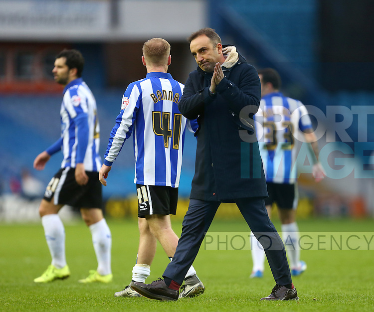 Sheffield Wednesday's manager, Carlos Carvalhal applauds the crowd - Sheffield Wednesday vs Derby County - Skybet Championship - Hillsborough - Sheffield - 06/12/2015 Pic Philip Oldham/SportImage