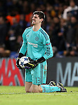 Chelsea's Thibaut Courtois feels pain in his knee<br /> <br /> UEFA Champions League - Chelsea v FC Porto - Stamford Bridge - England - 9th December 2015 - Picture David Klein/Sportimage