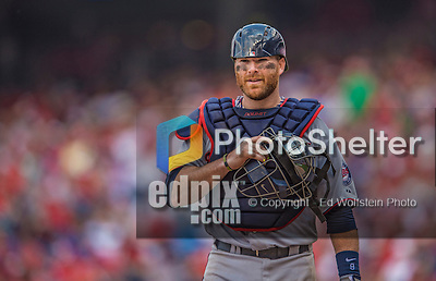 9 June 2013: Minnesota Twins catcher Ryan Doumit looks back to the dugout during a game against the Washington Nationals at Nationals Park in Washington, DC. The Nationals shut out the Twins 7-0 in the first game of their day/night double-header. Mandatory Credit: Ed Wolfstein Photo *** RAW (NEF) Image File Available ***