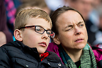 Sunday April 02 2017 <br /> Pictured: Swansea City fans <br /> Re: Premier League match between Swansea City and Middlesbrough at The Liberty Stadium, Swansea, Wales, UK. SUnday 02 April 2017