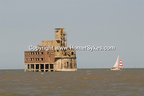Grain Tower Battery. Martello Tower, taken from Isle of Grain Thames estuary off coast of  Grain and Sheerness. Kent. UK