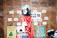 Satirical presidential candidate Vermin Supreme puts up a poster before delivering a stump speech at Ten Rod Farm in Rochester, New Hampshire. Supreme's platform advocates a pony-based economy, using zombies to solve the energy crisis, and other outlandish ideas. Supreme has been on the New Hampshire primary ballot in 2008 and 2012, though he began running for president in 1992. Vermin Supreme will be on the Democratic party ballot in the 2016 New Hampshire primary.