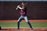 Evan Antonellis (11) of the Concord Mountain Lions at bat against the Wingate Bulldogs at Ron Christopher Stadium on February 2, 2020 in Wingate, North Carolina. The Mountain Lions defeated the Bulldogs 12-11. (Brian Westerholt/Four Seam Images)