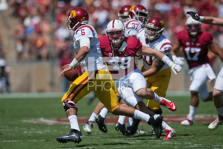 STANFORD, CA - September 6, 2014: The Stanford Cardinal vs USC Trojans game at Stanford Stadium in Stanford, CA. Final score, Stanford Cardinal 10, USC Trojans 13