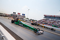 Sep 4, 2017; Clermont, IN, USA; NHRA top fuel driver Kebin Kinsley (near) races alongside Tony Schumacher during the US Nationals at Lucas Oil Raceway. Mandatory Credit: Mark J. Rebilas-USA TODAY Sports