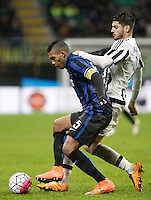 Calcio, Coppa Italia: semifinale di ritorno Inter vs Juventus. Milano, stadio San Siro, 2 marzo 2016. <br /> FC Inter&rsquo;s Juan Jesus, left, is challenged by Juventus&rsquo; Alvaro Morata during the Italian Cup second leg semifinal football match between Inter and Juventus at Milan's San Siro stadium, 2 March 2016.<br /> UPDATE IMAGES PRESS/Isabella Bonotto