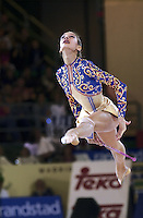 October 21, 2001; Madrid, Spain:  IRINA TCHACHINA of Russia performs with clubs at 2001 World Championships at Madrid.