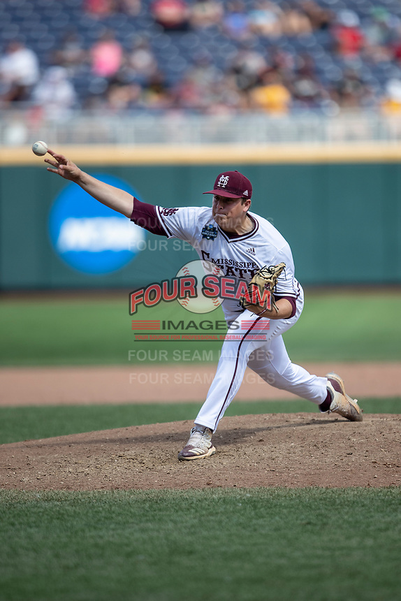 Mississippi State Bulldogs pitcher Keegan James (18) delivers a pitch to the plate during Game 8 of the NCAA College World Series against the Vanderbilt Commodores on June 19, 2019 at TD Ameritrade Park in Omaha, Nebraska. Vanderbilt defeated Mississippi State 6-3. (Andrew Woolley/Four Seam Images)
