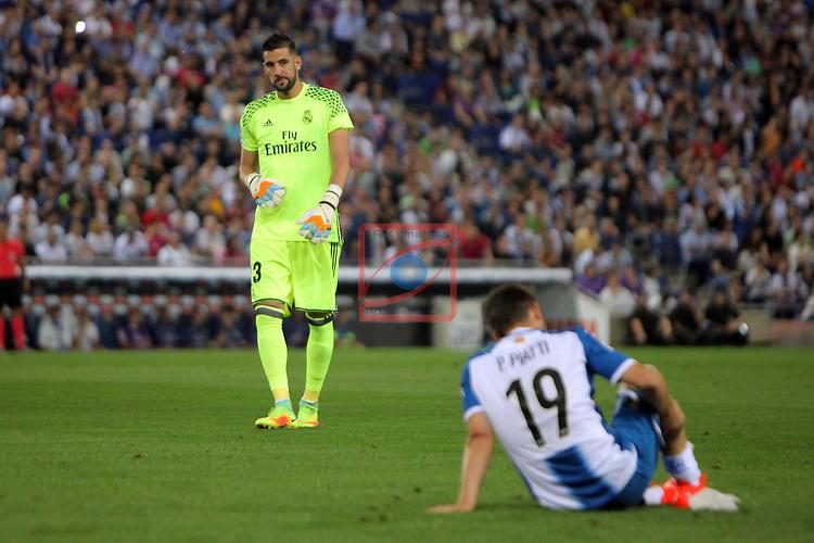 League Santander 2016/2017. Game: 4.<br /> RCD Espanyol vs R. Madrid: 0-2.<br /> Kiko Casilla &amp; Pablo Piatti.