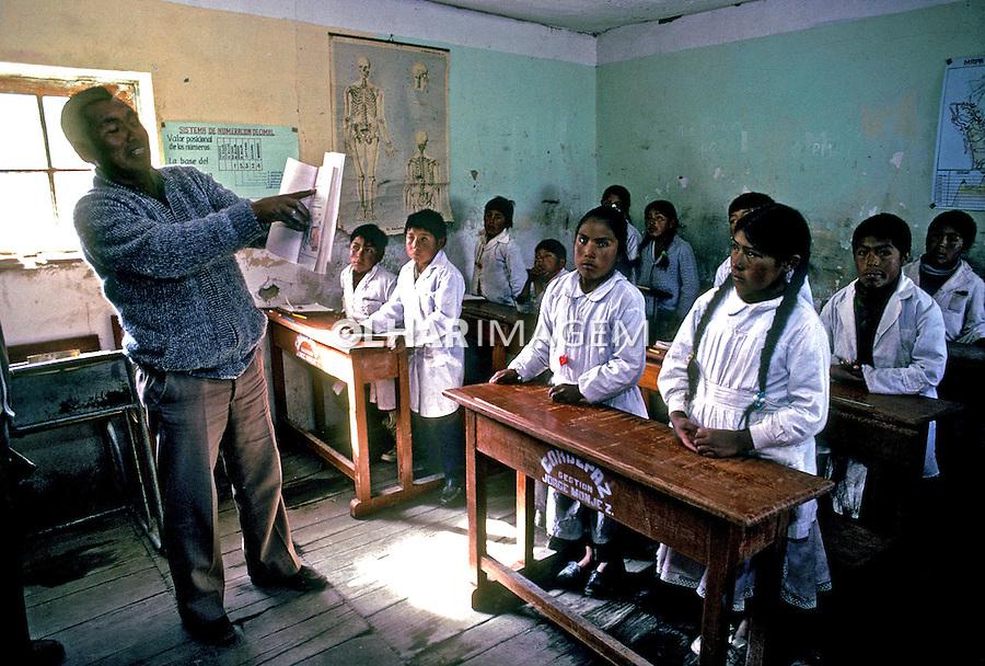 Sala de aula em cooperativa mineira. Bolivia. 1992. Foto de Salomon Cytrynowicz.