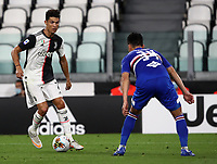 Calcio, Serie A: Juventus - Sampdoria, Turin, Allianz Stadium, July 26, 2020.<br /> Juventus' Cristiano Ronaldo (l) in action with Sampdoria's Maya Yoshida (r) during the Italian Serie A football match between Juventus and - Sampdoria at the Allianz stadium in Turin, July 26, 2020.<br /> UPDATE IMAGES PRESS/Isabella Bonotto