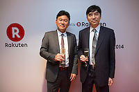 Hiroshi Mikitani, Chairman of the board of Tokyo Philharmonic Orchestra, left, and Haruhisa Takeuchi, Ambassador of Japan to Singapore,  attend the reception cocktail after the 100th Anniversary concert at the Esplanade Hall on 20 March 2014 in Singapore. Photo by Jerome Favre / studioEAST
