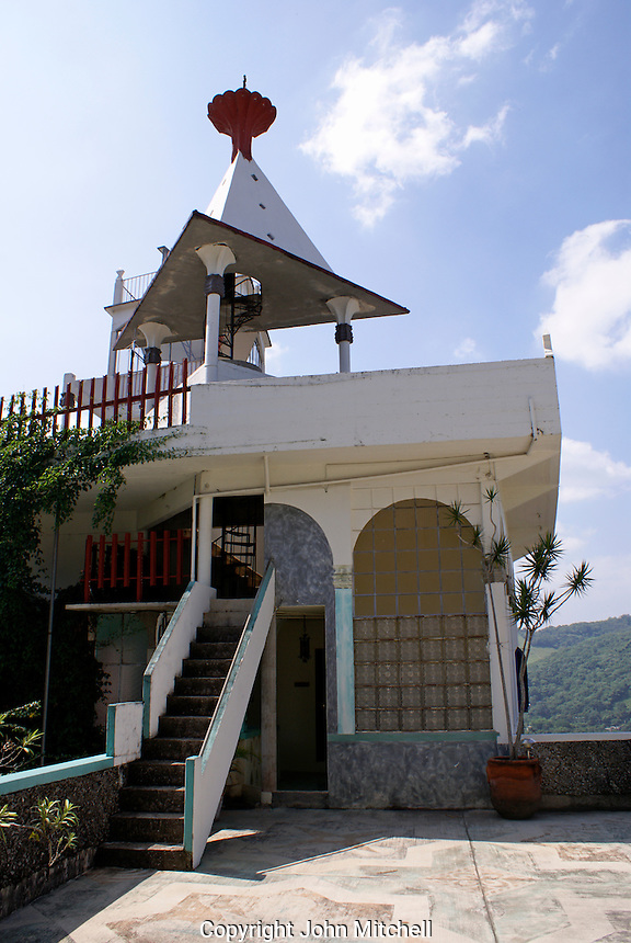 Surrealistic tower at the Posada El Castillo, former home of Edward James in Xilitla, San Luis Potosi state, Mexico