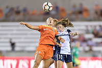 Houston, TX - Saturday July 15, 2017: Amber Brooks and Estefanía Banini battle for control of the ball during a regular season National Women's Soccer League (NWSL) match between the Houston Dash and the Washington Spirit at BBVA Compass Stadium.