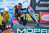 Feb 24, 2019; Chandler, AZ, USA; NHRA top fuel driver Leah Pritchett reacts after losing in the final round of the Arizona Nationals at Wild Horse Pass Motorsports Park. Mandatory Credit: Mark J. Rebilas-USA TODAY Sports