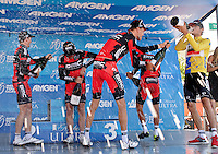 Amgen Tour of California overall winner Tejay van Garderen, right, celebrates with his teammates from the BMC Racing Team at the finish of Stage 8 in Santa Rosa, Calif., on May 19, 2013. (Alvin Jornada for The Press Democrat)