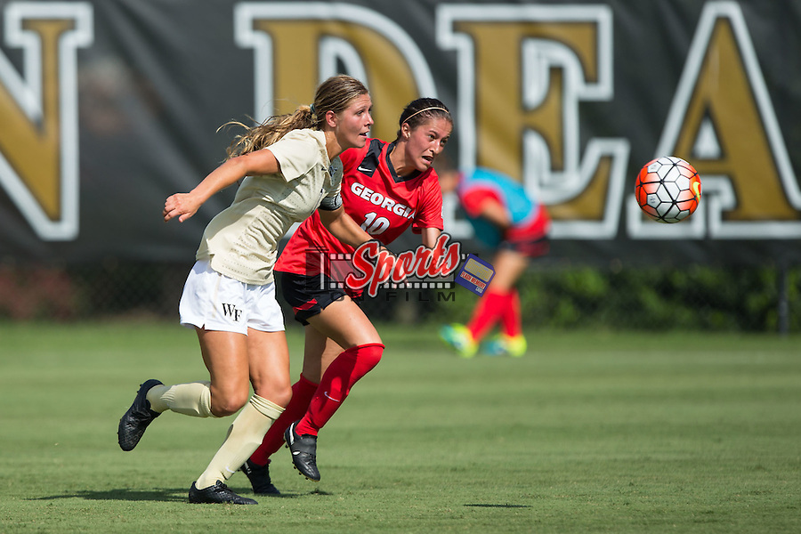 Sarah Teegarden (7) of the Wake Forest Demon Deacons battles for the ball with Becca Rasmussen (10) of the Georgia Bulldogs during first half action at Spry Soccer Stadium on August 23, 2015 in Winston-Salem, North Carolina.  The Deacons defeated the Bulldogs 4-0.   (Brian Westerholt/Sports On Film)