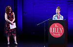 Julia Jordan and Jen Silverman on stage during the 9th Annual LILLY Awards at the Minetta Lane Theatre on May 21,2018 in New York City.